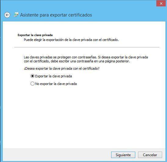 Asistente para exportar certificados digitales