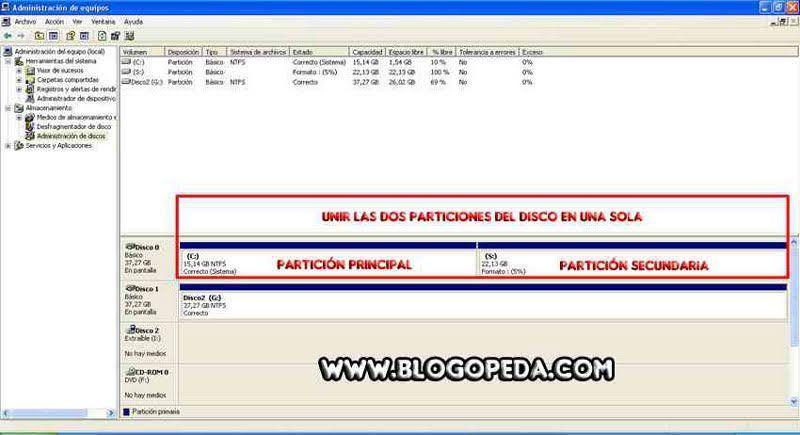 Administrador de discos de Windows Xp