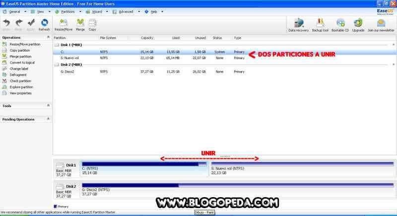 unir particiones de un disco duro con EaseUs partition manager