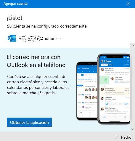 Cuenta de Microsoft Outlook agregada a Windows 10