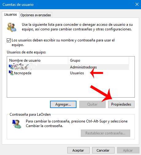 Cambiar el administrador en Windows 10 usando Cuentas de Usuarios
