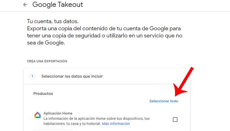 Desmarcar todo en Google Takeout