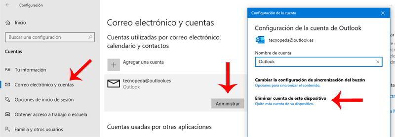 Administrar cuenta de Microsoft Outlook en Windows 10