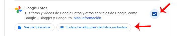 Exportar las fotos de Google Fotos en Google Takeout