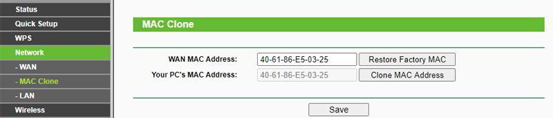 Mac clonada en un router