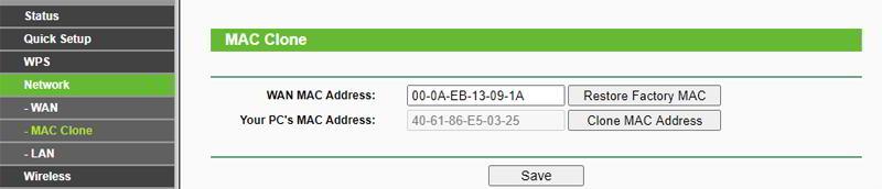 Opción de Clone MAc para clonar la mac en un router tp-link wr841n