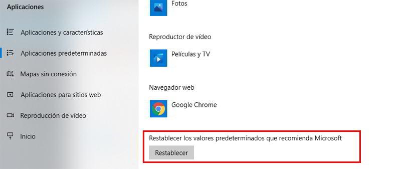 Botón para restablecer los valores predeterminados que recomienda Microsoft