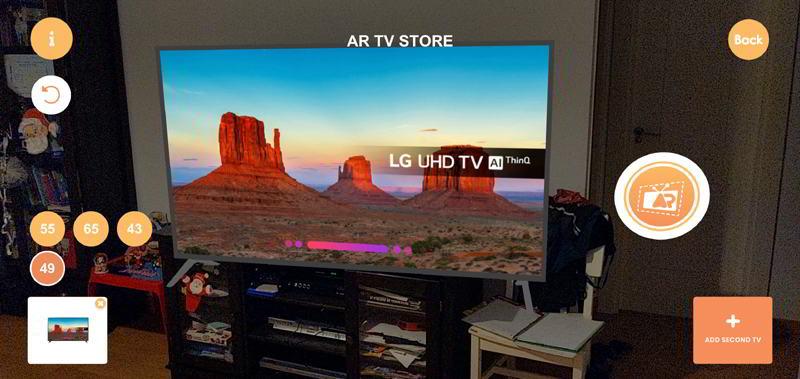 Comprobando el tamaño de televisión Lg en AR