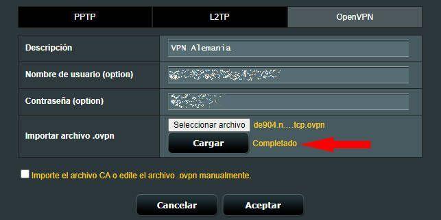 Añadir configuración de OpenVPN