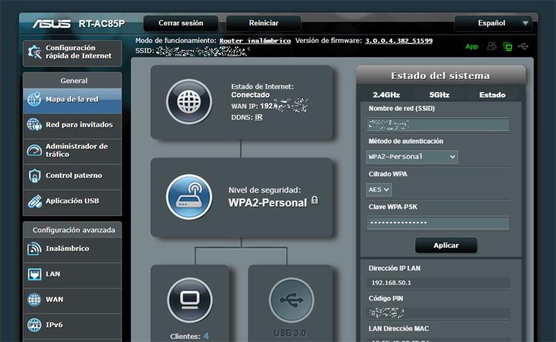 Router ASUS RT-AC85P configurado