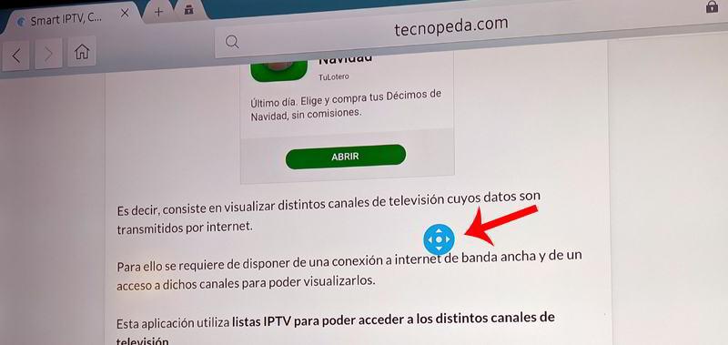 Desplazar pantalla en navegador de internet de samsung smart tv