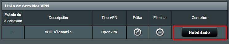 Perfil VPN agregado a un router