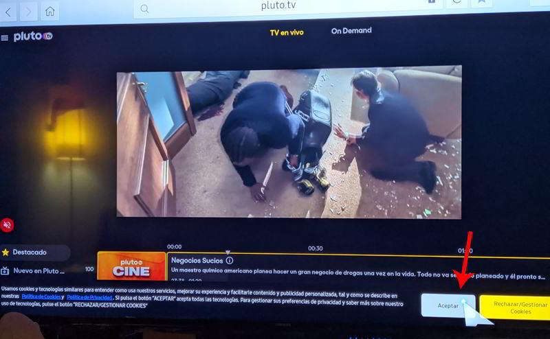 Eliminar el aviso de Cookies en Pluto Tv