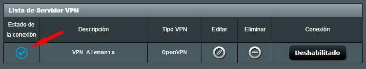 Router conectado a un VPN