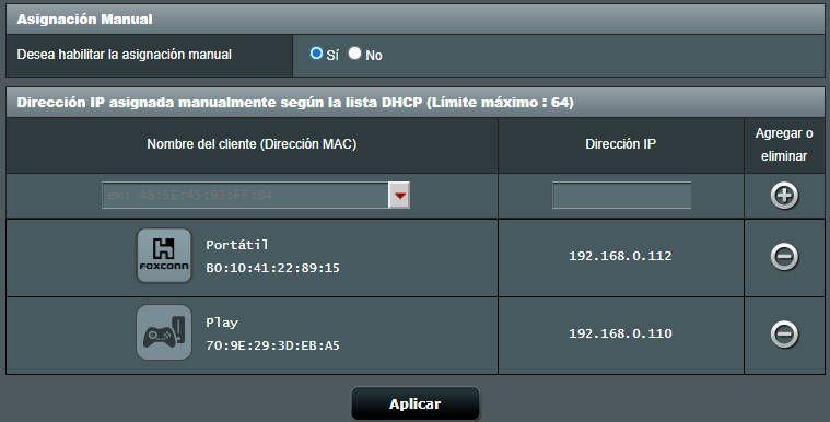 reservar una dirección ip para abrir puertos en el router ASUS RT-AC85P