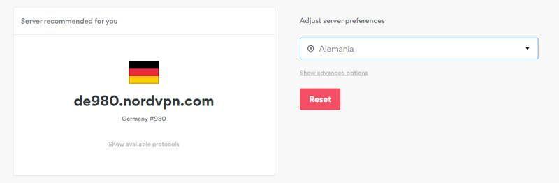 Conexión a un servidor alemán en NordVPN