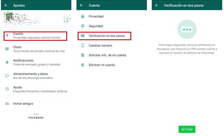 Activar la verificación en dos pasos en Whatsapp