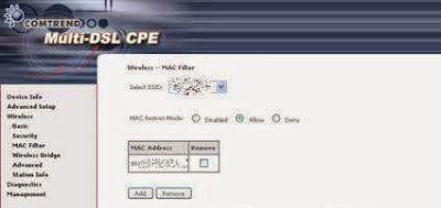 MAC filter en router comtrend