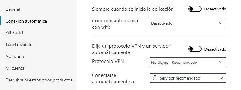 configurar la conexión automática en NordVPN