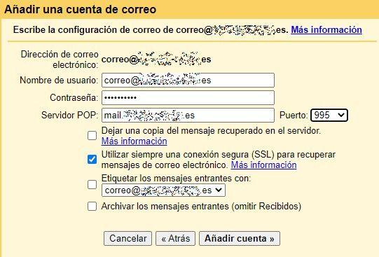 compeltar los datos de la cuenta en gmail