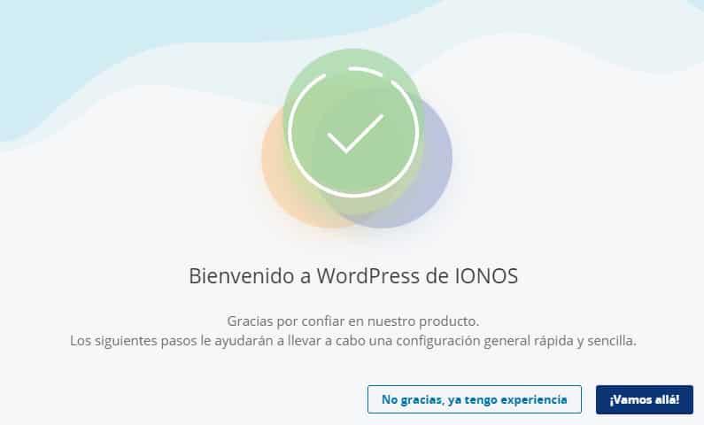 asistente para configurar una web en ionos