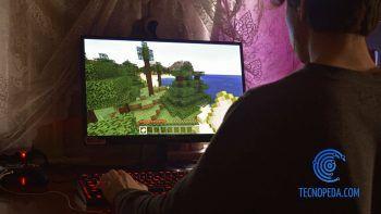 Niño jugando al minecraft