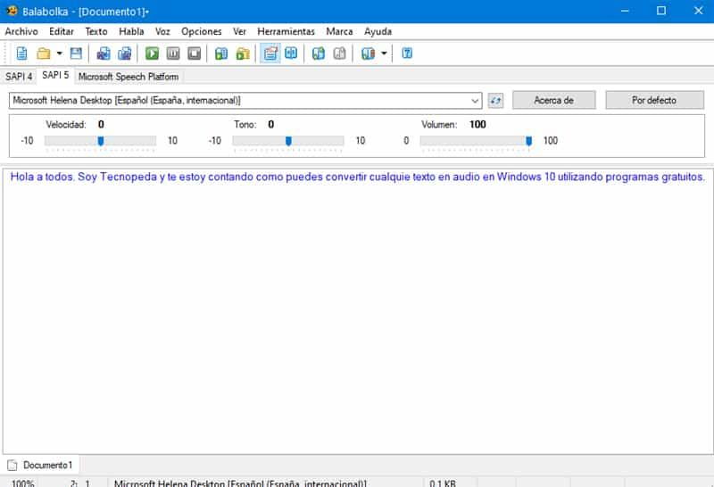 convertir texto en voz en Windows 10 con Balabolka