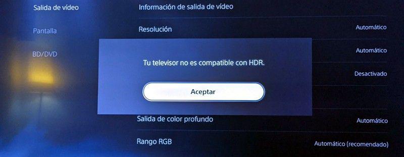 Televisor no compatible con HDR