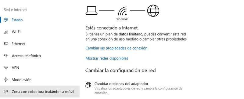 opciones de red e internet en windows 10