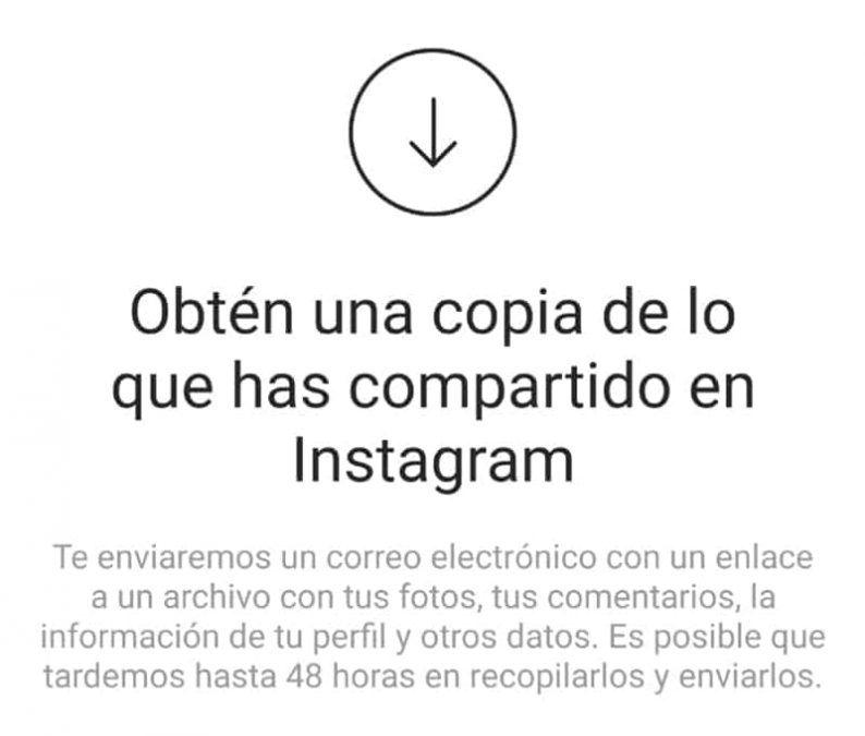 hacer una copia de todo lo compartido en instagram