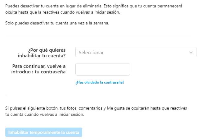 opción para desactivar una cuenta de instagram