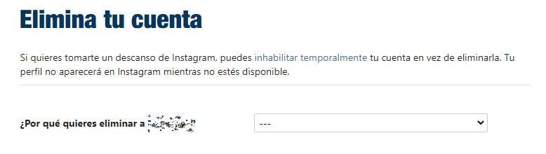 opción para eliminar una cuenta de instagram