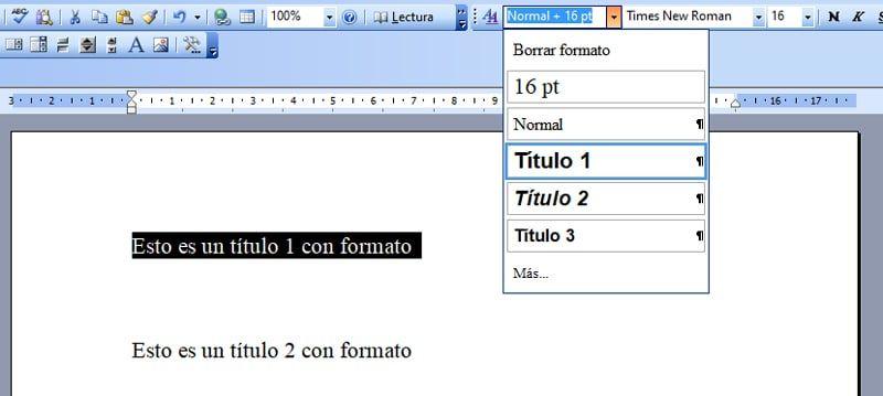 crear títulos para hacer índices automáticos en Word