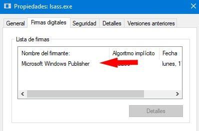 firma digital de lsass.exe