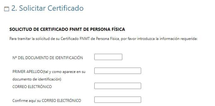 solicitud de certificado FNMT de persona física