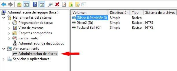 eliminar un volumen del disco duro desde el administrador de discos