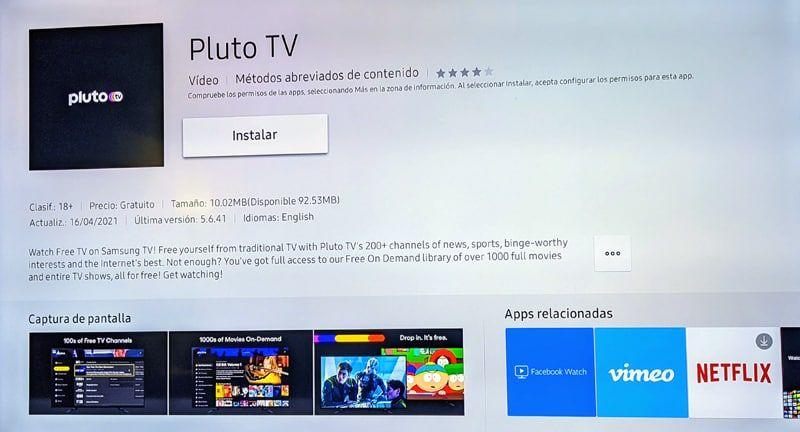 aplicación oficial de Pluto tv para Samsung Smart Tv