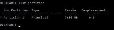 List partition en diskpart