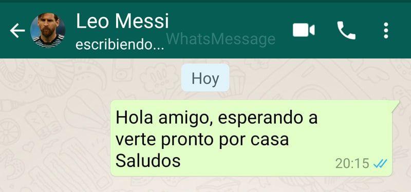 Mensaje falso de Whatsapp