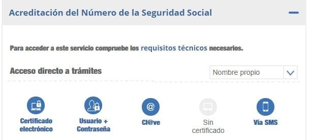 acreditación del número de la seguridad social