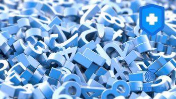 Números de color azul amontonados