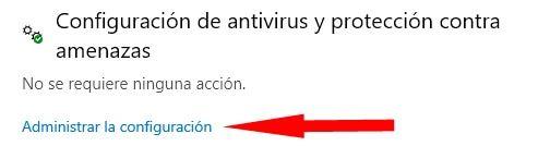 administrar al configuración de antivirus