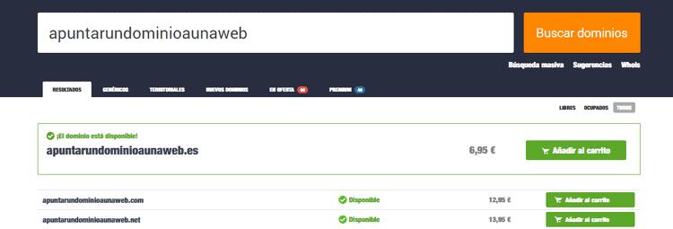 añadir un dominio web a una web