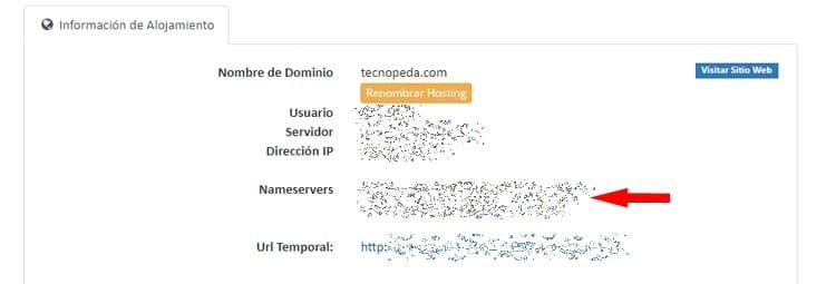 consultar los dns del hosting para apuntar un domino a una web
