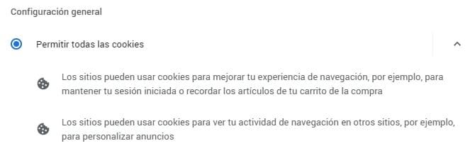 permitir todas las cookies en google chrome