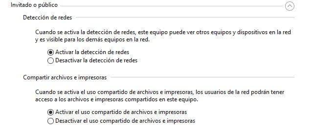 Activar la detección de redes y el uso compartido de archivos para compartir archivos en red