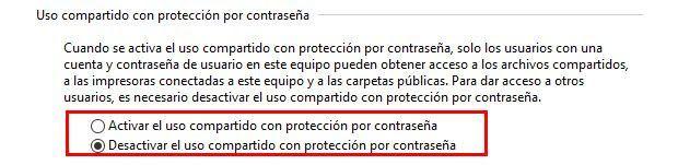 Desactivar el uso compartido con protección por contraseña para compartir archivos en red