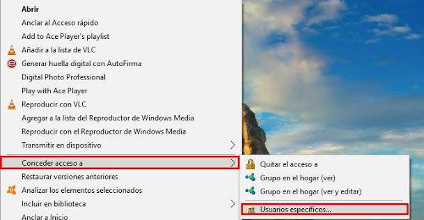 Selecciona una carpeta de tu equipo para compartir archivos en red en Windows 10