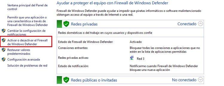 desactivar firewall para solucionar el problema de ocurrió un error al iniciar Roblox