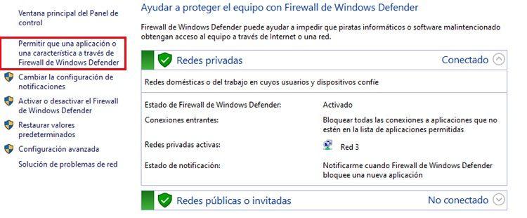 permitir un programa en el firewall